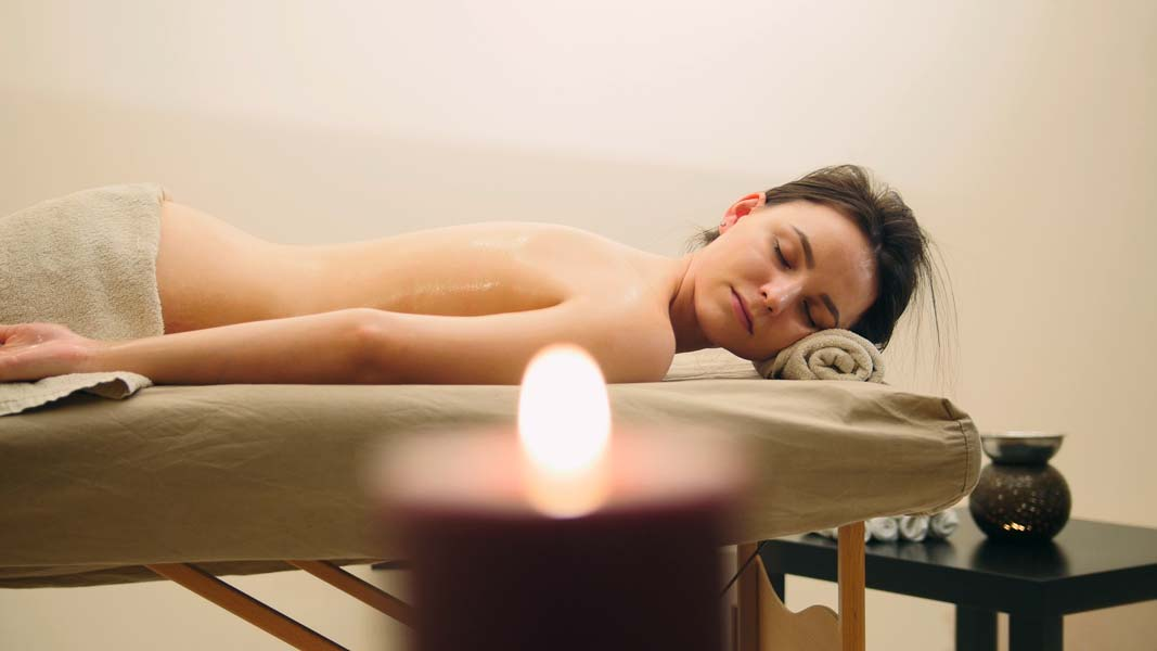 relaxed woman in spa without stress